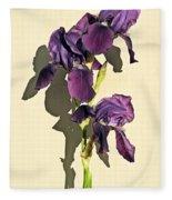 Royal Purple Iris Still Life Fleece Blanket