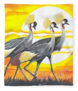 Royal Cranes From Rwanda Fleece Blanket