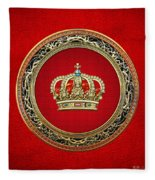 Royal Crown In Gold On Red  Fleece Blanket