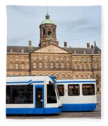 Royal Palace And Trams In Amsterdam Fleece Blanket
