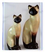 Royal Siamese - Ceramic Cats Fleece Blanket