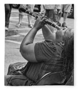 Royal Street Clarinet Player New Orleans Fleece Blanket