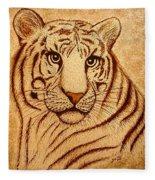 Royal Tiger Coffee Painting Fleece Blanket