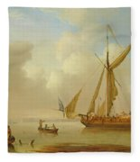 Royal Yacht Becalmed At Anchor Fleece Blanket