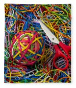 Rubber Band Ball With Sccisors Fleece Blanket