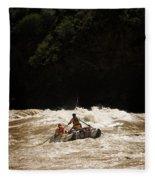 Rubber Raft Running Rapids Fleece Blanket