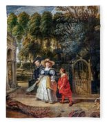 Rubens In His Garden With Helena Fourment Fleece Blanket