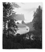 Ruby Beach In The Winter In Black And White Fleece Blanket