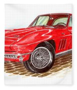 Ruby Red 1966 Corvette Stingray Fastback Fleece Blanket