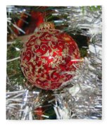 Ruby Red Ornament Fleece Blanket