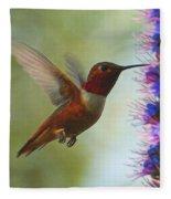 Ruby Throated Hummingbird Digital Art Fleece Blanket