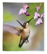 Ruby-throated Hummingbird - Digital Art Fleece Blanket