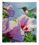 Ruby-throated Hummingbird Fleece Blanket