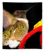 Ruby-throated Hummingbird Landing On Feeder Fleece Blanket