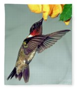 Ruby-throated Hummingbird Male At Flower Fleece Blanket