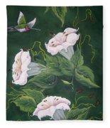 Hummingbird And Lilies Fleece Blanket