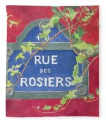 Rue Des Rosiers In Paris Fleece Blanket