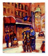 Rue St. Paul Old Montreal Streetscene In Winter Fleece Blanket