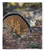 Ruffed Grouse Rear Strut Fleece Blanket