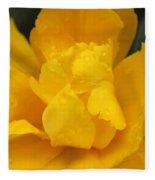 Yellow Ruffled Parrot Tulip Flower Fleece Blanket