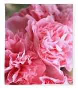 Ruffly Pink Hollyhock Fleece Blanket