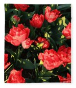 Ruffly Red Tulips Square Fleece Blanket