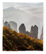 Rugged Cliffs And A Monastery  Meteora Fleece Blanket