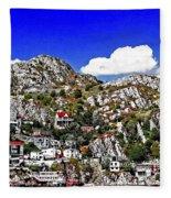 Rugged Cliffside Village Digital Painting Fleece Blanket