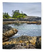 Rugged Coast Of Pacific Ocean On Vancouver Island Fleece Blanket