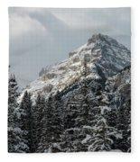 Rugged Mountain Peak With Snow Fleece Blanket