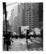 Running In The Rain - New York City Street Scene Fleece Blanket