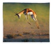 Running Springbok Jumping High Fleece Blanket