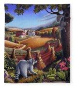 Rural Country Farm Life Landscape Folk Art Raccoon Squirrel Rustic Americana Scene  Fleece Blanket