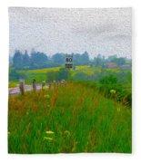 Rural Highway In Oil Paint Fleece Blanket