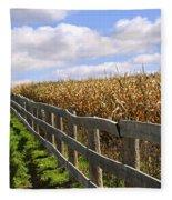 Rural Landscape With Fence Fleece Blanket