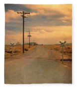 Rural Railroad Crossing Fleece Blanket