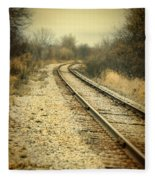 Rural Railroad Tracks Fleece Blanket