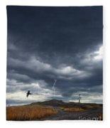 Rural Road In Lightning Storm Fleece Blanket