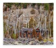 Rural Rustic Rundown Rocky Mountain Cabin Fleece Blanket