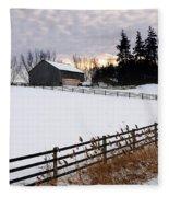 Rural Winter Landscape Fleece Blanket