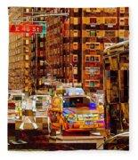 Rush Hour - Traffic In New York Fleece Blanket