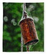 Rusted Old Cowbell Fleece Blanket