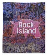 Rusted Rock Island Line Train Car Fleece Blanket