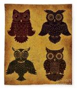 Rustic Aged 4 Owls Fleece Blanket