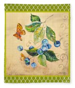 Rustic Blueberries On Moroccan Fleece Blanket