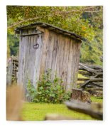 Rustic Fence And Outhouse Fleece Blanket