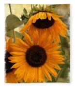 Rustic Sunflowers Fleece Blanket