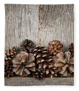 Rustic Wood With Pine Cones Fleece Blanket