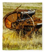 Rusting Farm Equipment Fleece Blanket