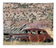 Rusty Chevrolet Special Deluxe In Manila Utah Fleece Blanket
